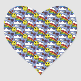 Rainbow Smiley Face and Flowers Hippie Pattern Heart Stickers