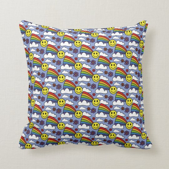 Rainbow Smiley Face and Flowers Hippie Pattern Throw Pillow