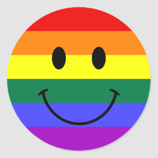 Rainbow Smiley Face Classic Round Sticker