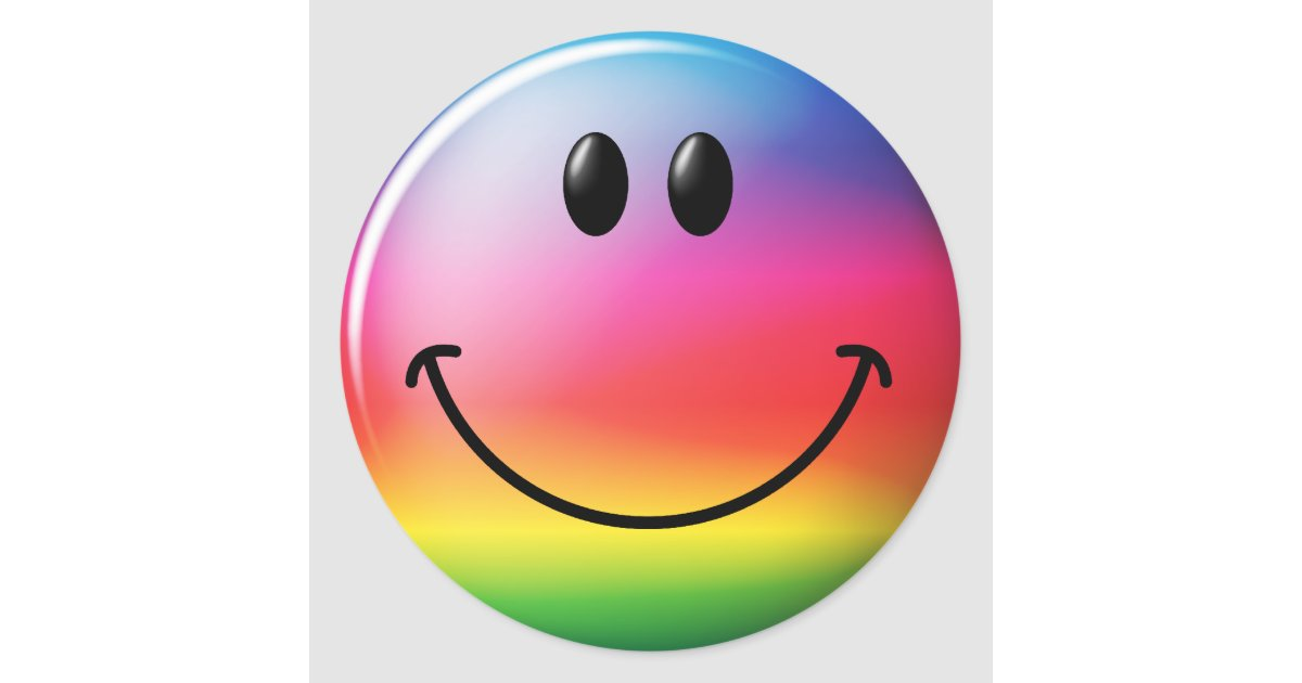 Rainbow Smiley Face Classic Round Sticker Zazzle