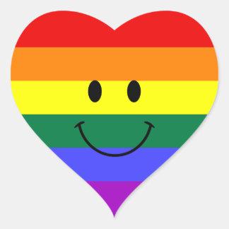 Rainbow Smiley Face Heart Sticker