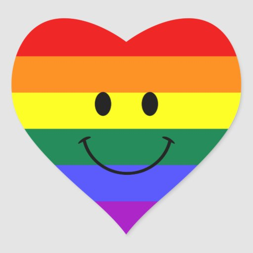 Rainbow Smiley Face Heart Sticker Zazzle