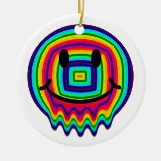 rainbow smiley face christmas ornament