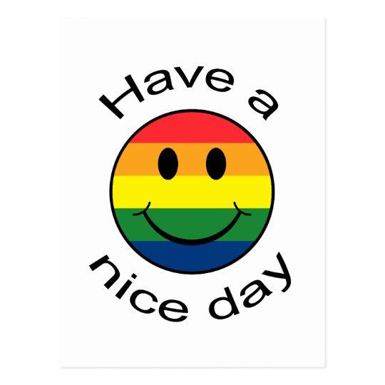 Rainbow Smiley Face Postcard