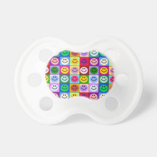 Rainbow smiley face squares BooginHead pacifier