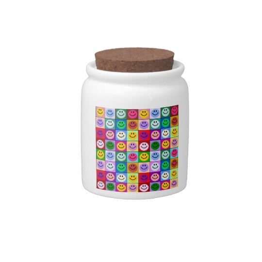 Rainbow smiley face squares candy jar