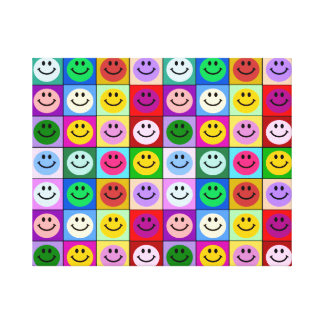 Rainbow smiley face squares canvas print