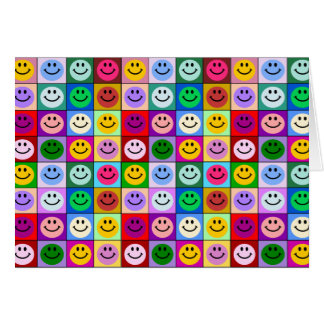 Rainbow smiley face squares card