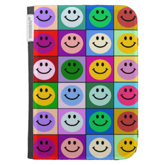 Rainbow smiley face squares kindle cases