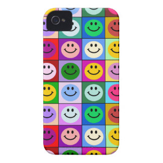 Rainbow smiley face squares iPhone 4 case