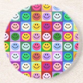 Rainbow smiley face squares coasters