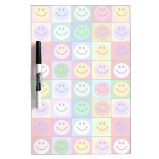Rainbow smiley face squares dry erase board
