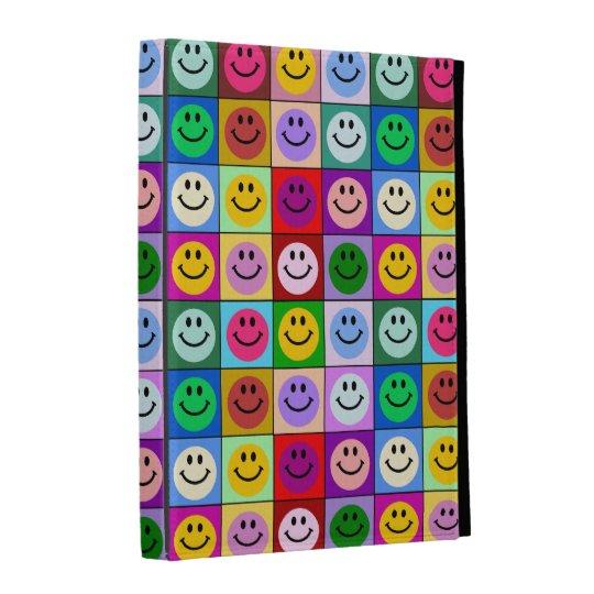 Rainbow smiley face squares iPad folio covers