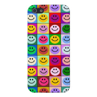 Rainbow smiley face squares iPhone 5 cover