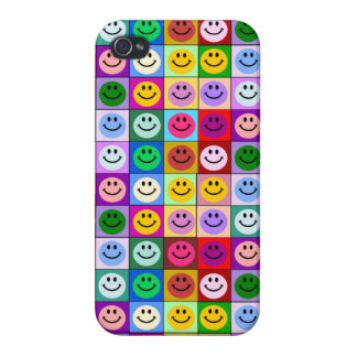 Rainbow smiley face squares case for iPhone 4