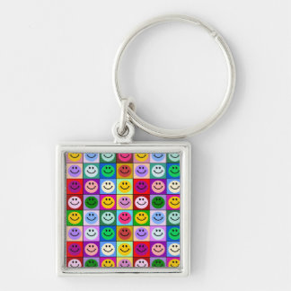 Rainbow smiley face squares key chains