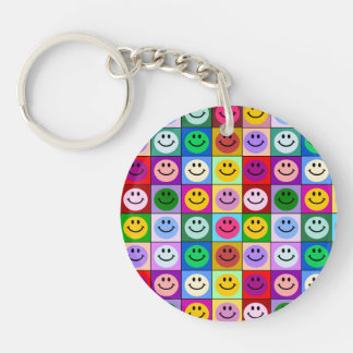 Rainbow smiley face squares acrylic key chain