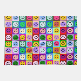 Rainbow smiley face squares kitchen towel