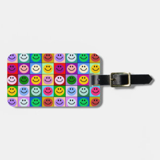 Rainbow smiley face squares luggage tag