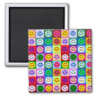 Rainbow smiley face squares magnet