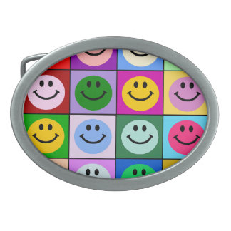 Rainbow smiley face squares oval belt buckle