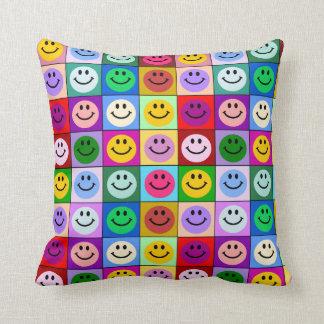 Rainbow smiley face squares throw pillow
