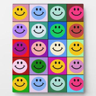 Rainbow smiley face squares plaque
