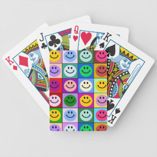 Rainbow smiley face squares bicycle card decks