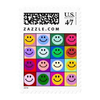 Rainbow smiley face squares postage