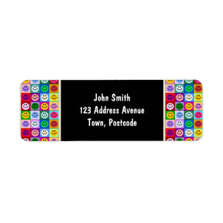 Rainbow smiley face squares return address label
