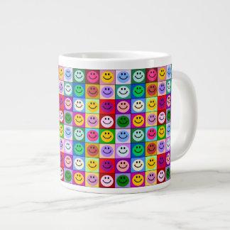 Rainbow smiley face squares 20 oz large ceramic coffee mug