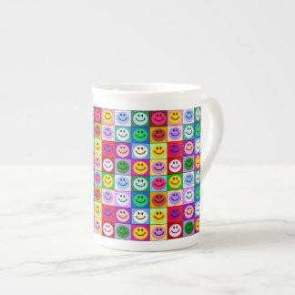 Rainbow smiley face squares porcelain mugs