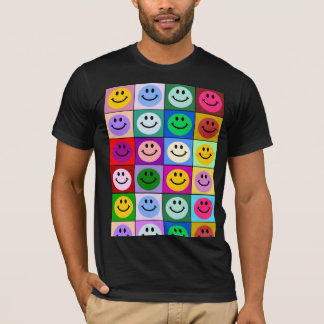 Rainbow smiley face squares T-Shirt
