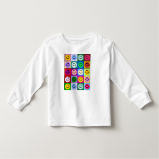 Rainbow smiley face squares toddler t-shirt