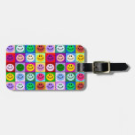 Rainbow smiley face squares travel bag tags