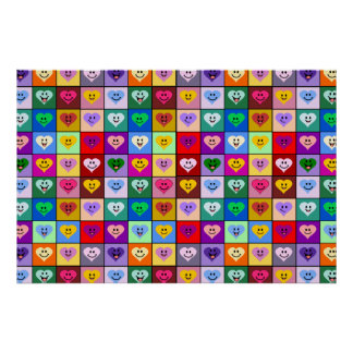 Rainbow Smiley Hearts squares Poster
