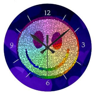 Rainbow Smiley Large Clock