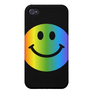 Rainbow Smiley - on black iPhone 4 Covers