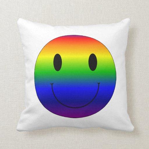 Rainbow Smiley Throw Pillow