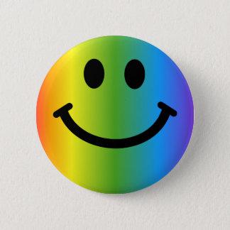 Rainbow Smiley Pinback Button
