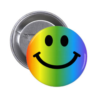 Rainbow Smiley Pinback Button