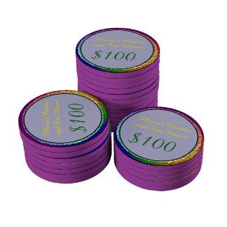 Rainbow Smiley Poker Chips