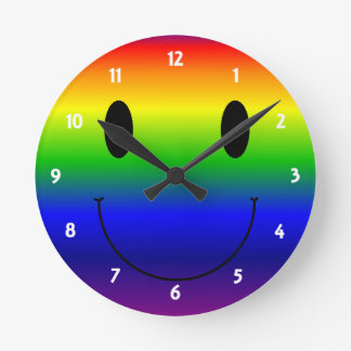 Rainbow Smiley Round Clock