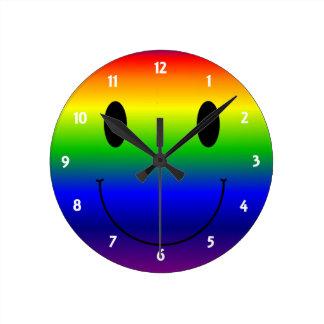 Rainbow Smiley Round Clock