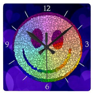 Rainbow Smiley Square Wall Clock