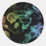 Rainbow Smoke Round Stickers
