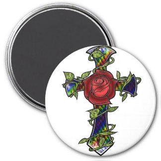 Rainbow Snakeskin Cross Magnet