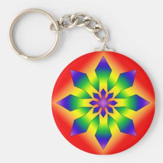 Rainbow Snowflake 44 Basic Round Button Keychain