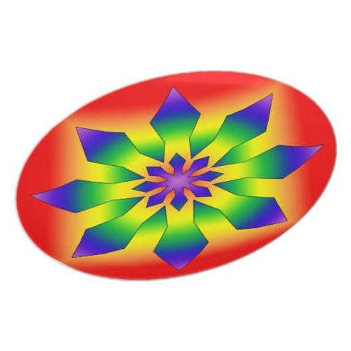 Rainbow Snowflake 44 Melamine Plate
