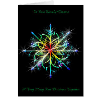 Rainbow Snowflake Gay Newly Wed First Christmas Card